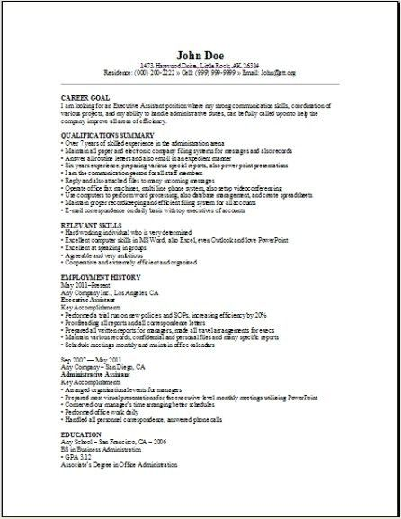 Executive Assistant Resume Sample, Occupational:examples, samples ...