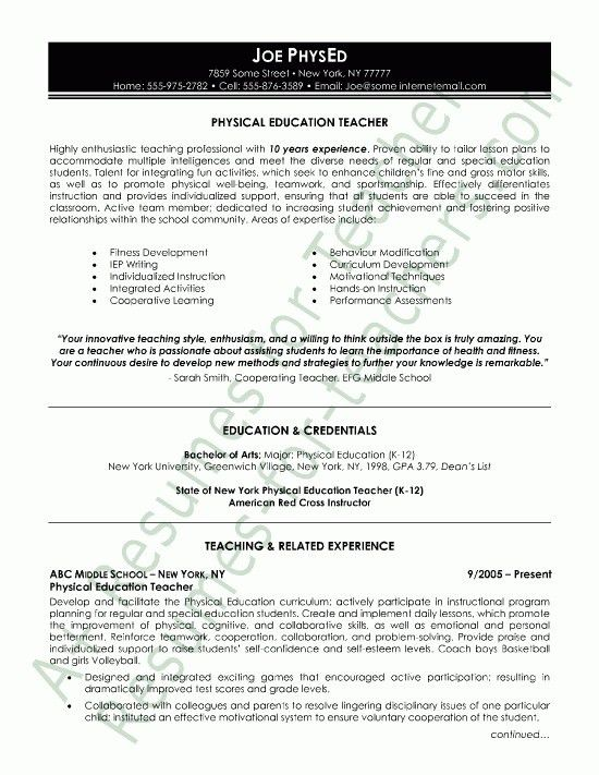 Education Resume Samples - Best Resume Collection