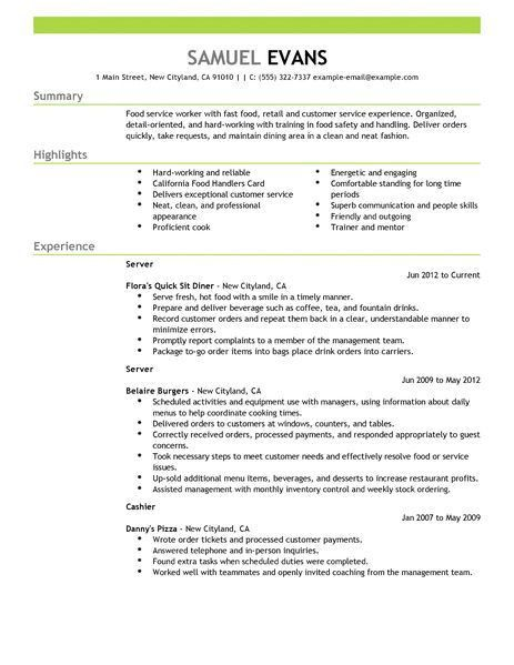 Best Fast Food Server Resume Example | LiveCareer