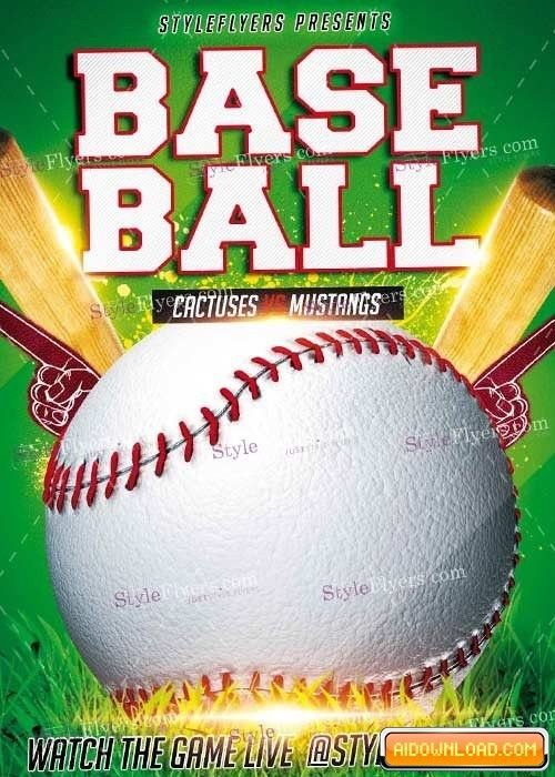 Baseball PSD V7 Flyer Template Free Download   Free Graphic ...