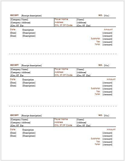 Driver Payment Receipt Template for MS Word | Receipt Templates