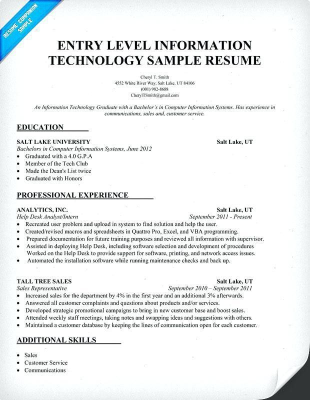 information technology resume examples entry level resume template