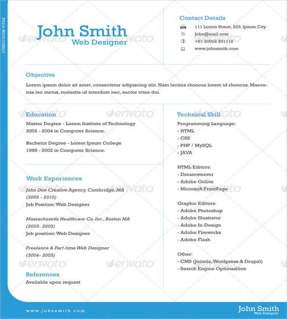 gallery of simple one page cv free basic resume samples resume ...