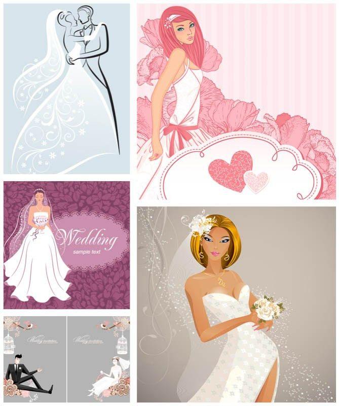 Wedding invitations with bride vector | Free Stock Vector Art ...