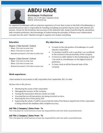 sample bookkeeping resume analytical accounting and bookkeeping ...