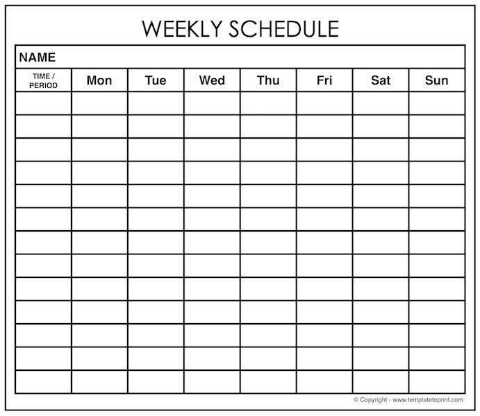 Weekly Calendar Schedule Template Maker | Weekly Planner with Times