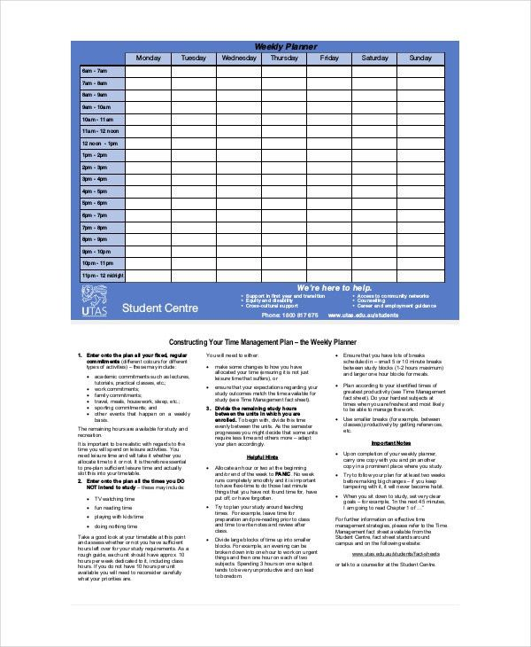 Weekly Planner Template - 10+ Free PDF, Word Documents Download ...
