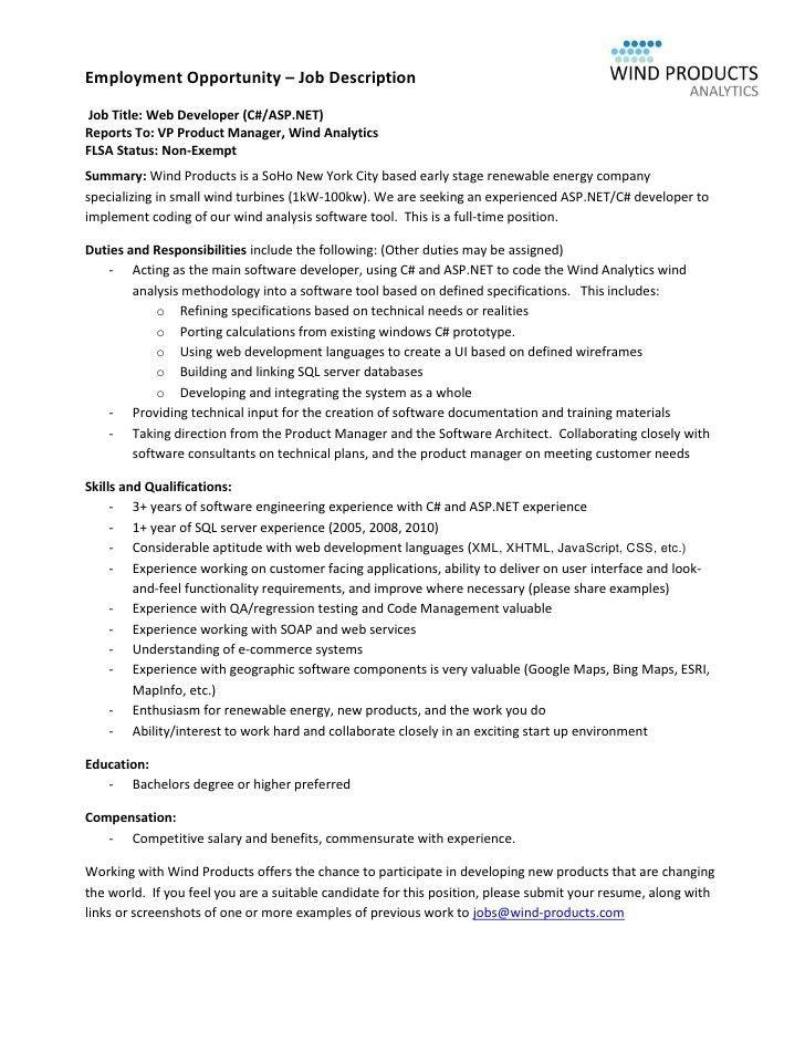 Software Developer Job Description. Extrel Cms Job Description Job ...