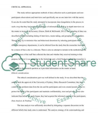 Critique Appraisal Essay Example | Topics and Well Written Essays ...