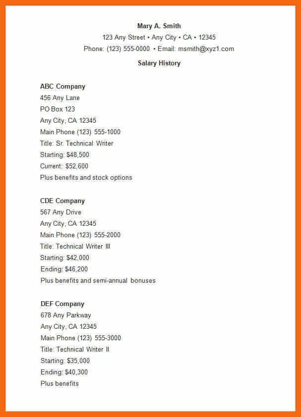 Salary History In Cover Letter