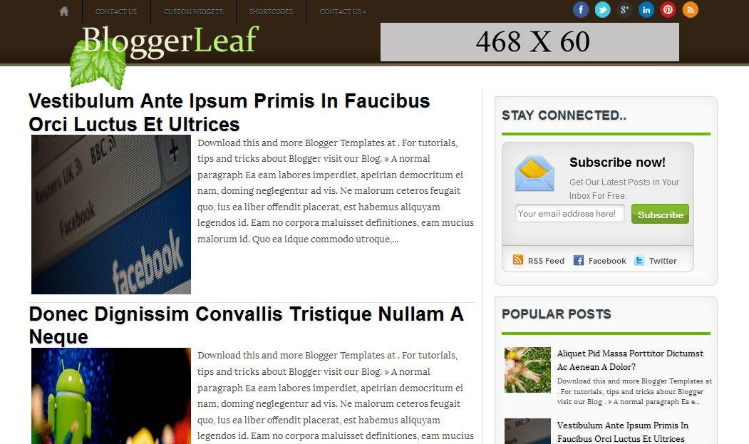 BloggerLeaf ~ Blogger Template Free Download