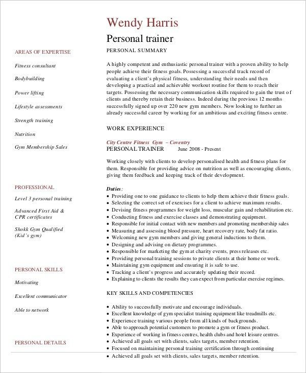 Personal Trainer Resume Example - 5+ Free Samples, Examples Format ...