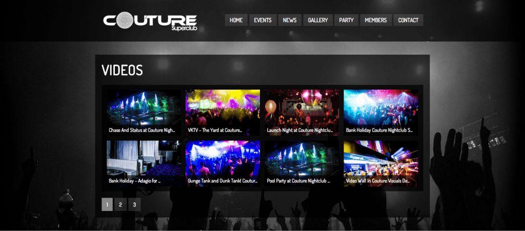 Nightclub Website Design - Couture Stafford