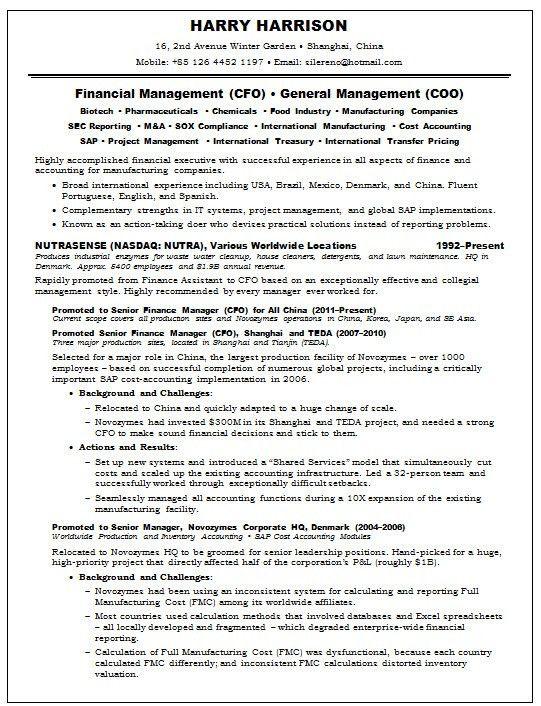 Resume Samples Chief Financial Officer CFO Pharma -