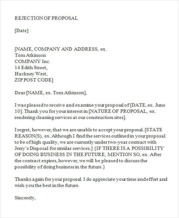 17+ Proposal Rejection Letter Template | Letter Rejection Resume ...