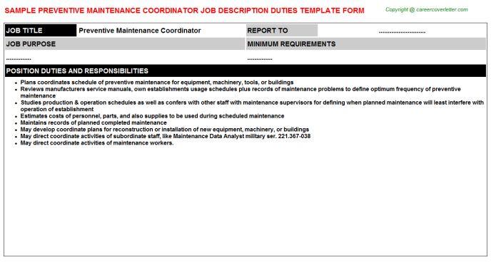 Preventive Maintenance Coordinator Job Description