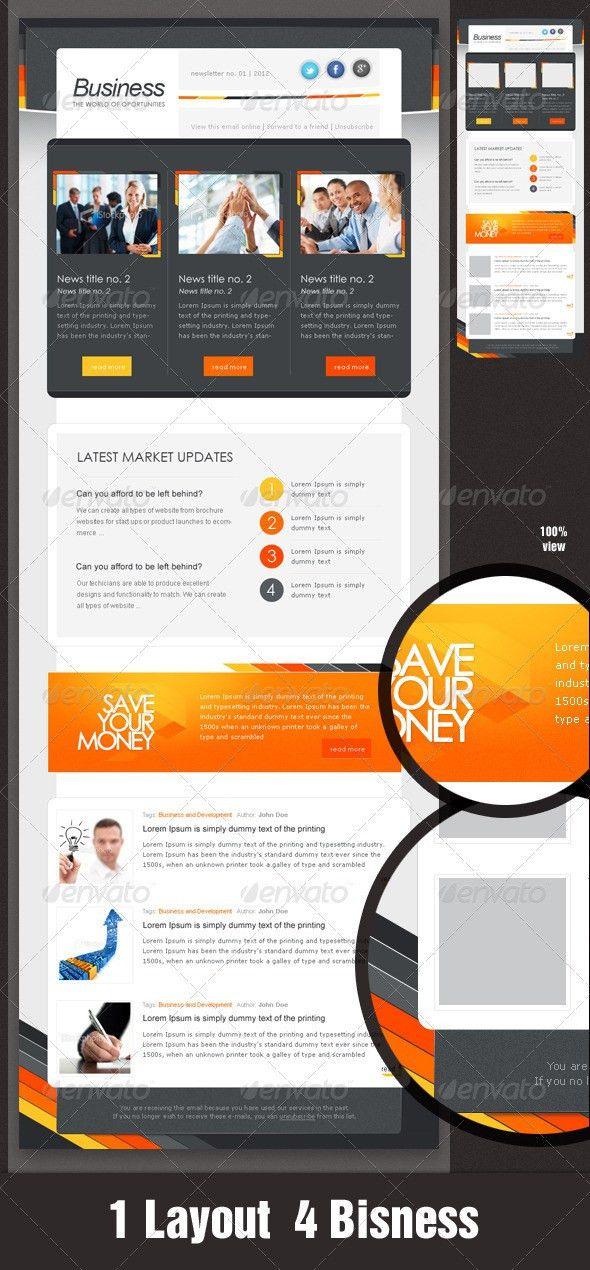 Business eNewsletter Design - Orange & Grey | Orange grey, Brand ...