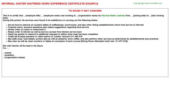 Informal Waiter Waitress Work Experience Certificate