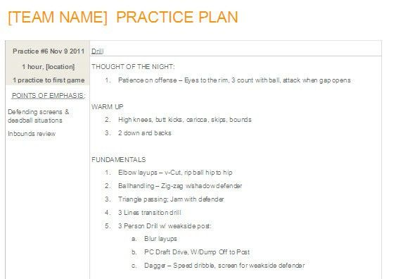 Easy-to-update Basketball Practice Plan Template in MS Word ...