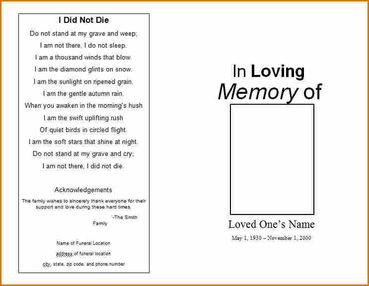 6+ free funeral program template for word | Job Resumes Word