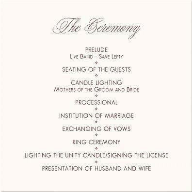 Wedding Programs-Wedding Program Wording-Program Samples-Program ...