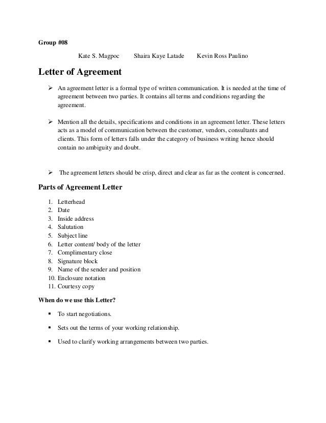 Agreement letter hardcopy
