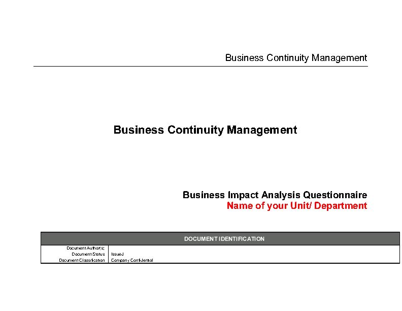 Business Impact Analysis (BIA) Questionnaire Templates (Word)