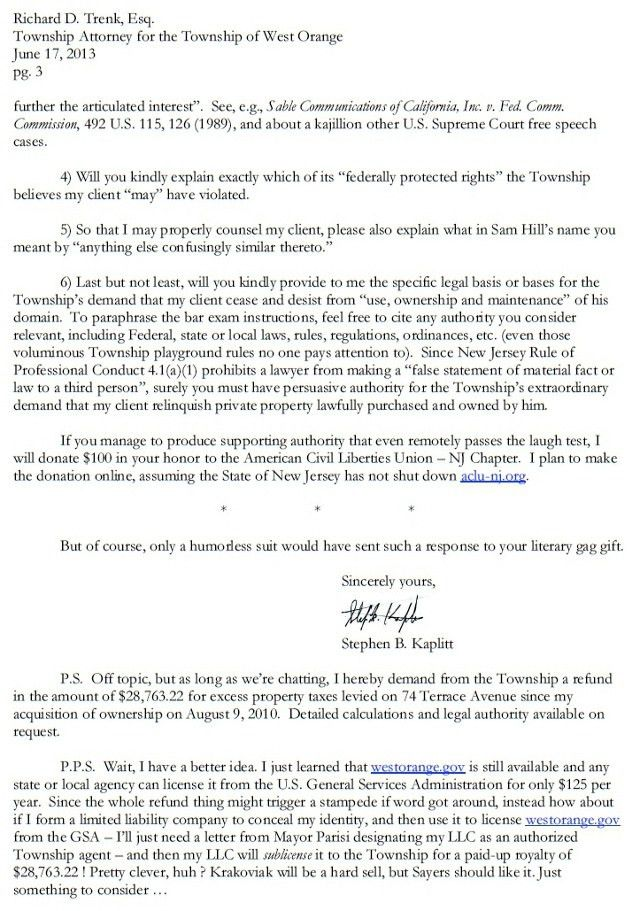 Best response to Cease and Desist letter ever? Yup