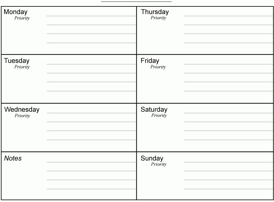 weekly time schedule template