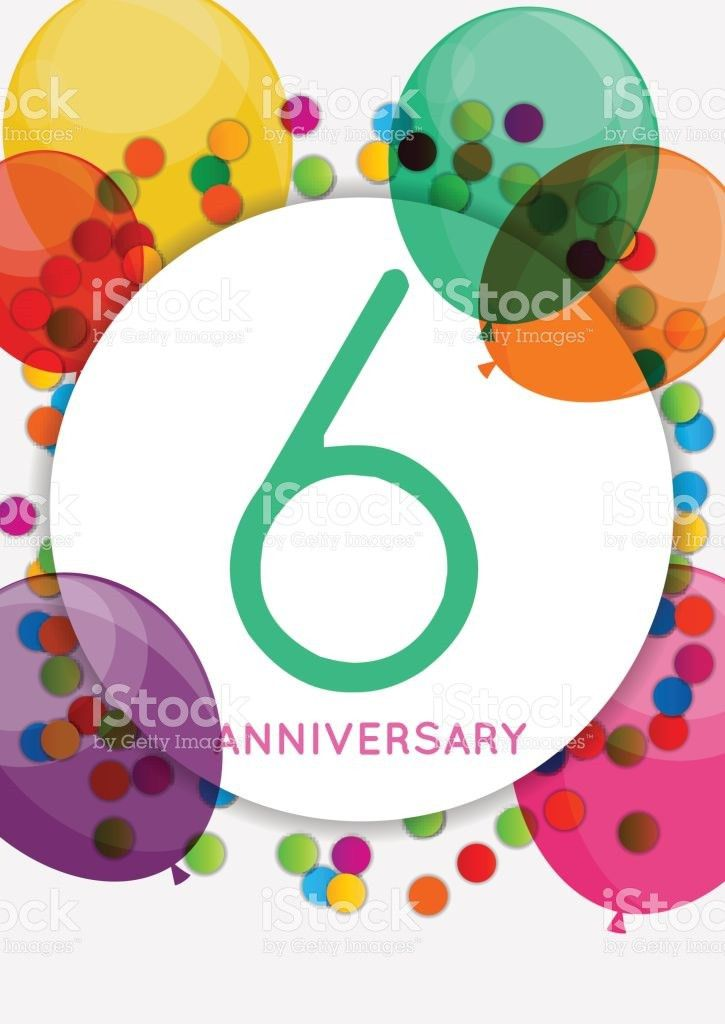 Template 6 Years Anniversary Congratulations Greeting Card Inv ...