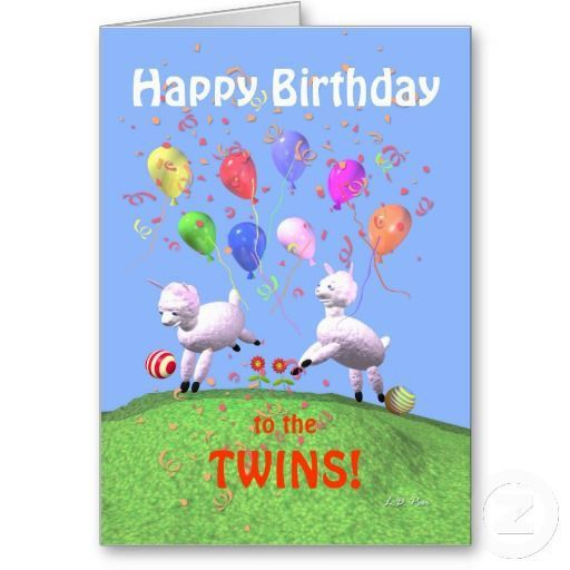 Card Invitation Design Ideas: Happy Birthday Lambs For Twins Card ...