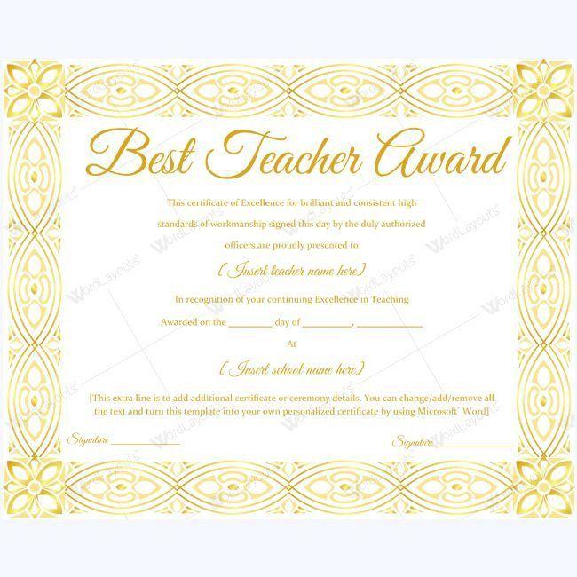 14 best Best Teacher Award Certificate Templates images on ...