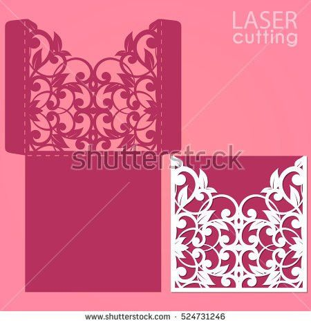 Laser Die Cut Envelope Template Vector Stock Vector 524731246 ...