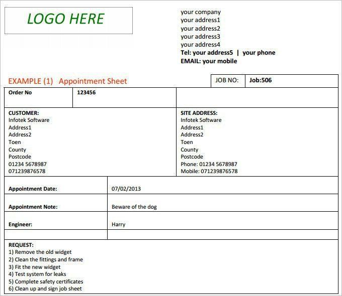 Excel Job Sheet Template [Template.billybullock.us ]