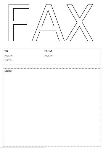The word Fax is huge in an outline font on this printable fax ...