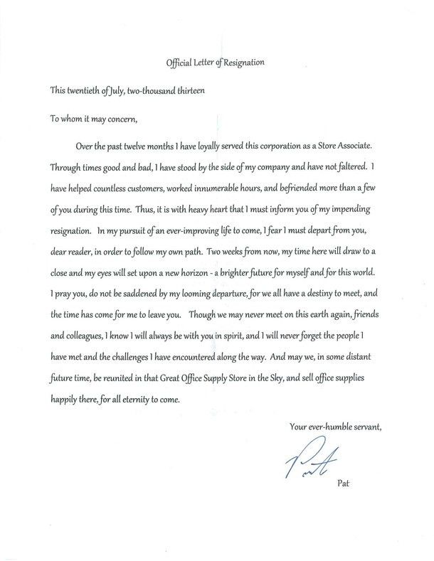 Best Resignation Letter official letter of Resignation sample ...