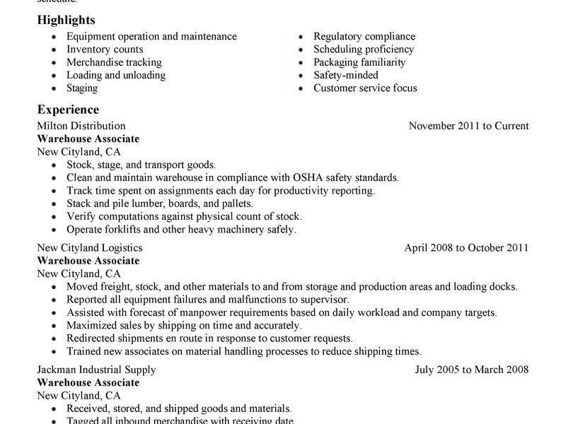Chic Resume For Warehouse Worker 12 General Warehouse Worker ...