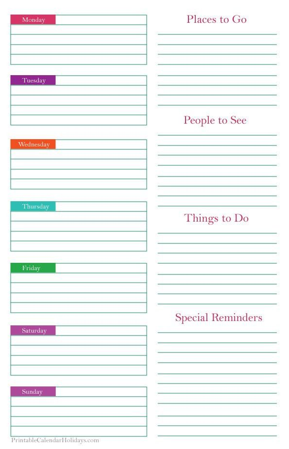 kids daily planner template