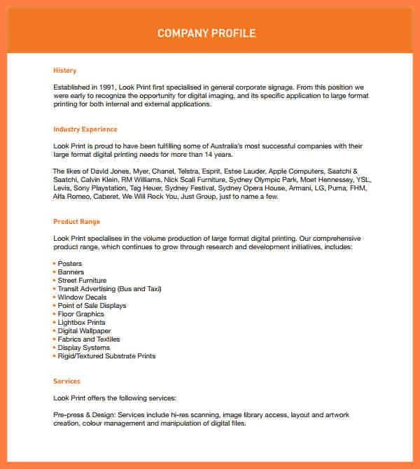 4+ company profile format sample | Company Letterhead