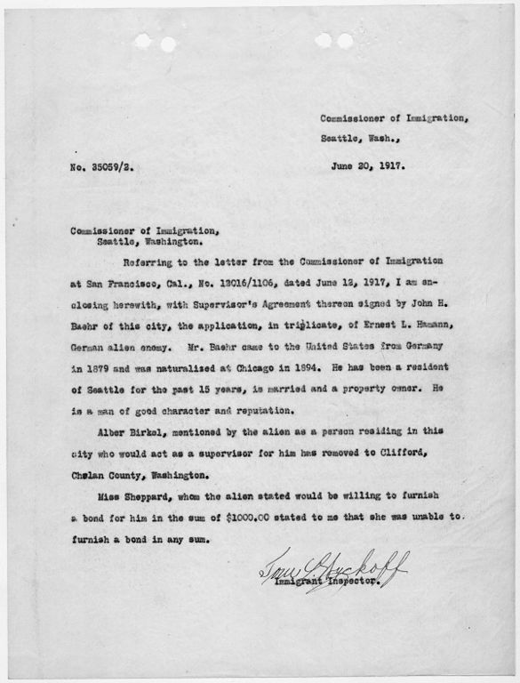 File:Letter to Commissioner of Immigration, Seattle, Washington ...