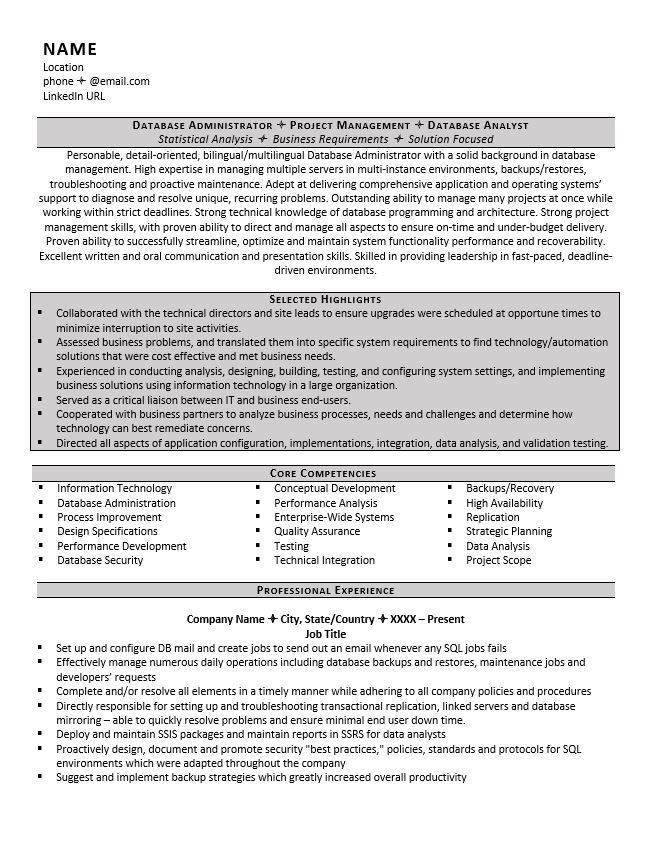 Database Administrator Resume Example and Tips - ZipJob