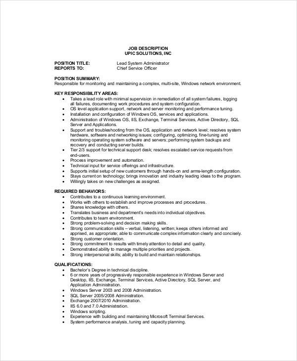 System Administrator Job Description. Contract Administrator Job ...