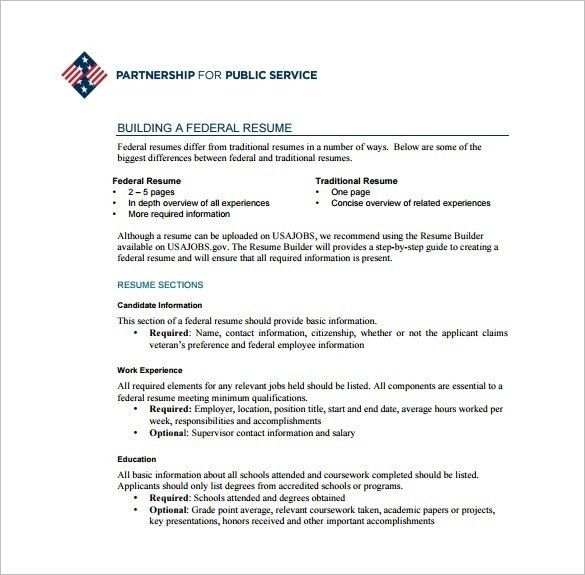 Usajobs Federal Resume. federal government resume template 9 usa ...