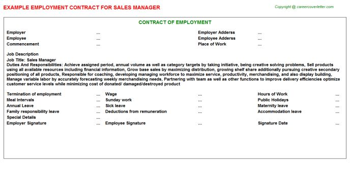 Sales Manager Employment Contract