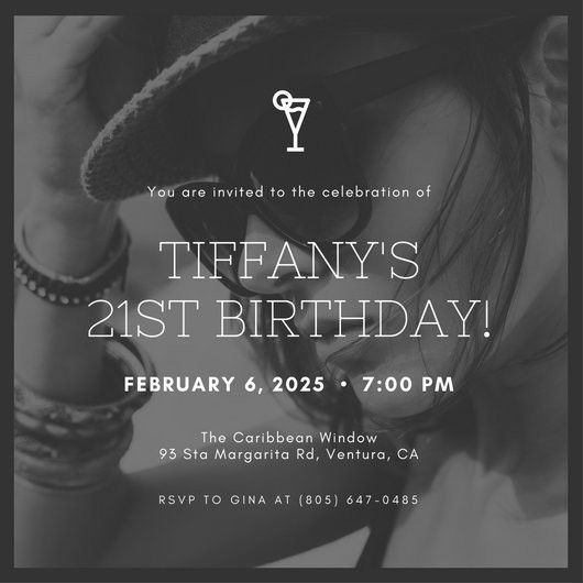 Grayscale Photo Drink 21st Birthday Invitation - Templates by Canva