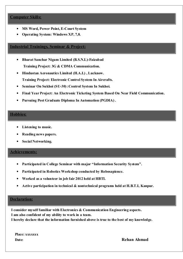 Sample CV for Electronics & Communications Student