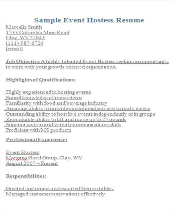 9+ Hostess Resume Templates - Free Sample, Example Format Download ...