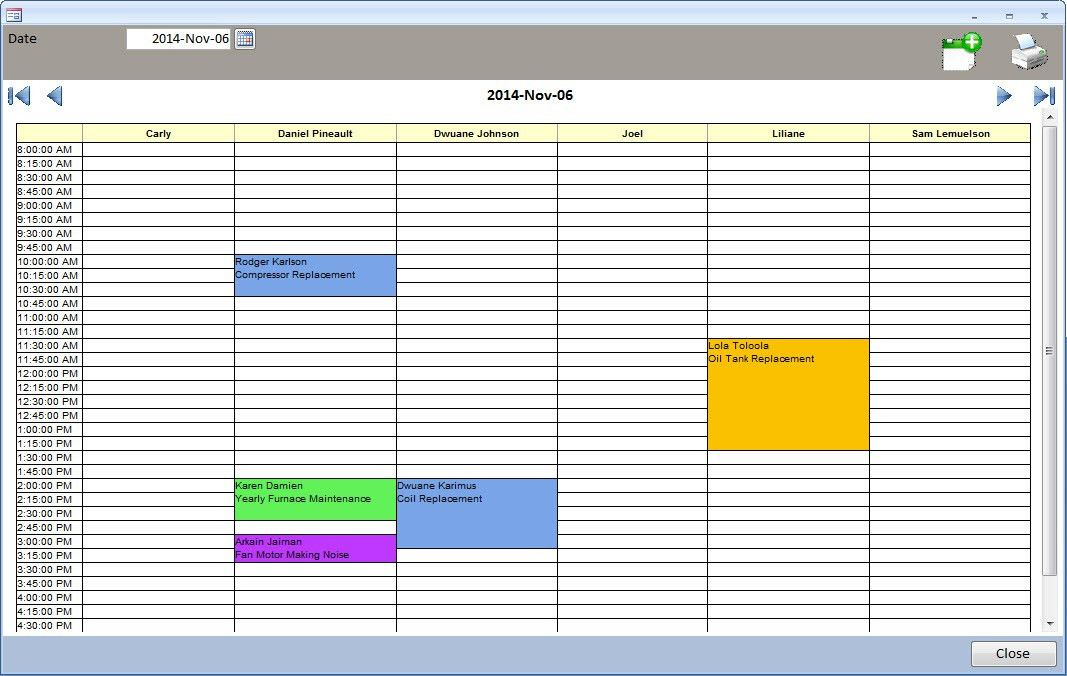 MS Access - Appointment Calendar / Daily Planner / Technician ...