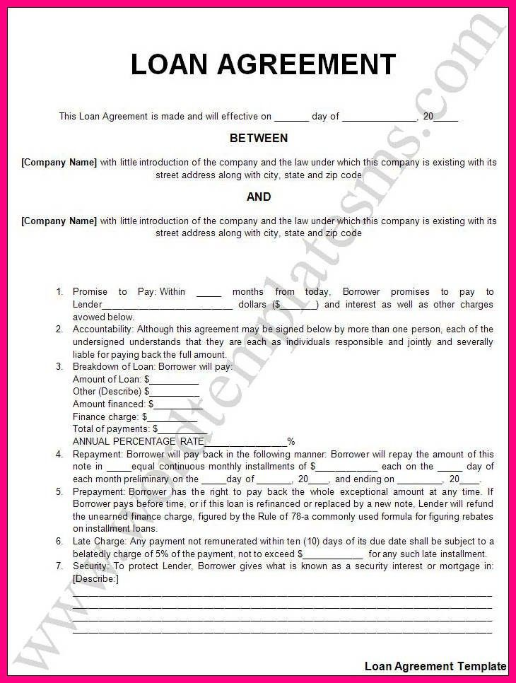 13 auto loan contract template