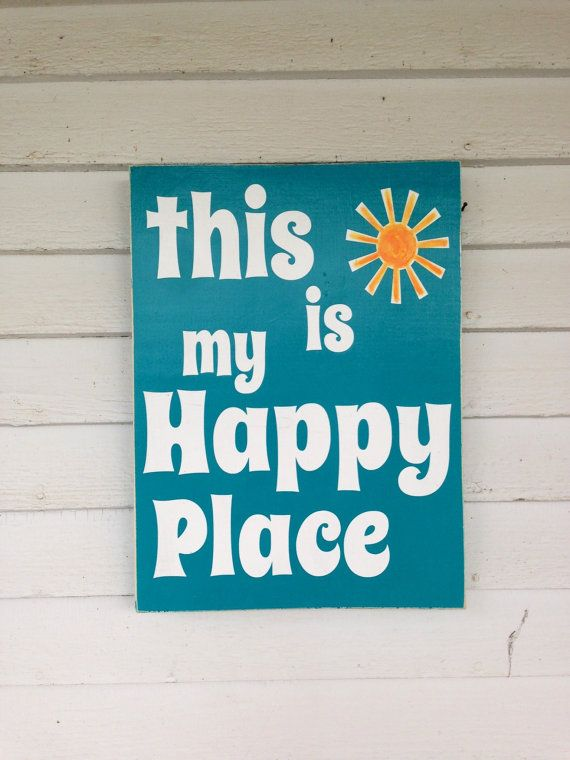 This is my Happy place sign rustic decor bar sign porch sign fun sign on Etsy, $28.00